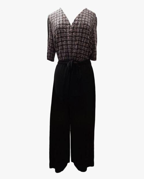 Jumpsuit blusa brillo pantalon negro