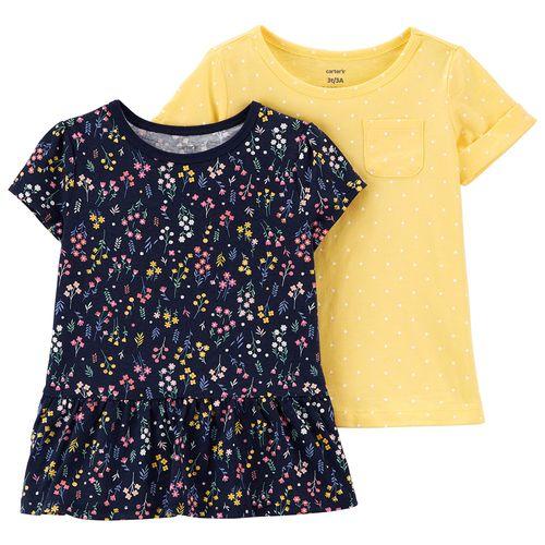 2 pack blusas niña estampado flores y sólida amarilla multicolores