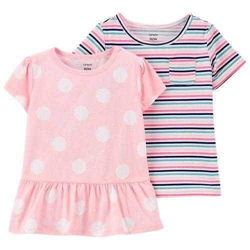 2 pack blusas niña puntos y rayas multicolores