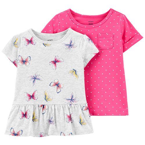 2 pack blusas niña mariposas y puntos
