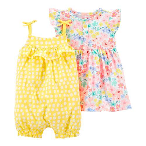 2 pack romper y vestido niña flores y puntos amarillo