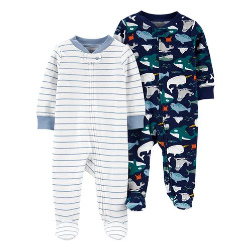 2 pack pijama piecitos ballena y rayas