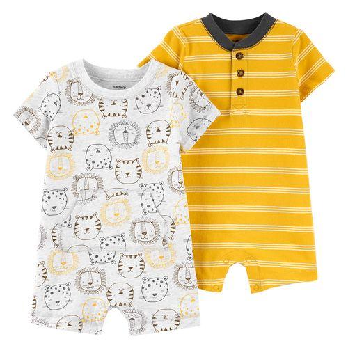 2 pack romper niño blanco animales y amarillo a rayas