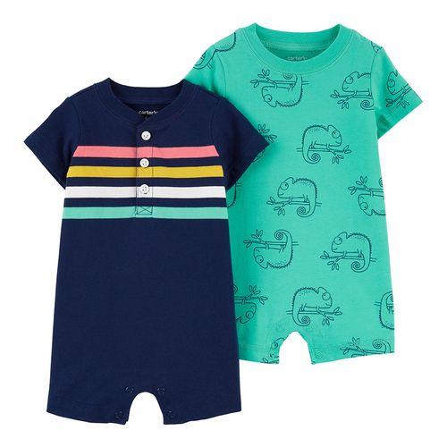 2 pack romper niño azul con rayas y aqua camaleón