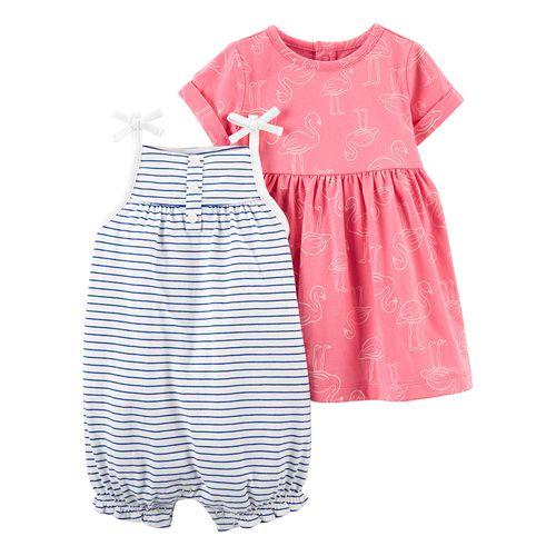 2 pack romper y vestido niña rayas azules y rosa flamingo