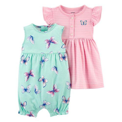 2 pack romper y vestido niña mariposas