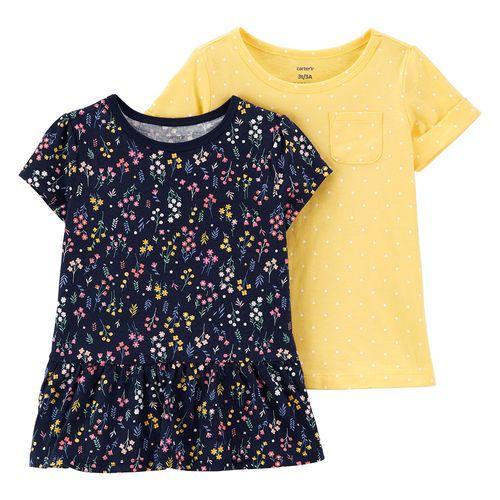 2 pack blusas niña flores y amarilla