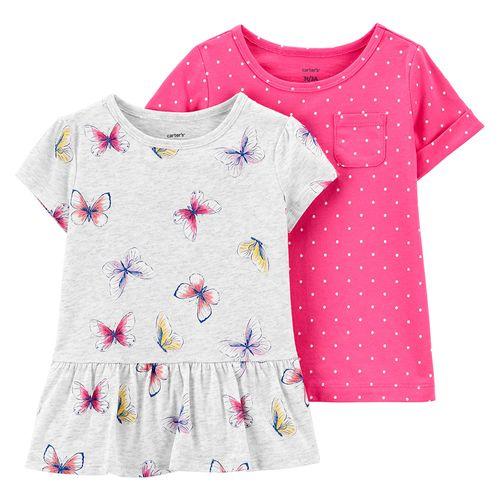 2 pack blusa niña mariposas y puntos