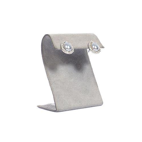 Aretes de acero quirurgico y cristales con perla saafir