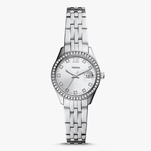Reloj análogo metálico plateado damas