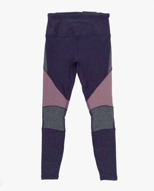 Legging 7/8 color blocking morado/gris