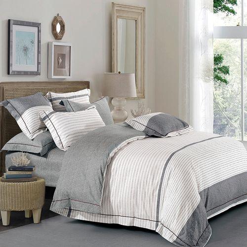 Duvet set 3pc algodón lineas blanco/gris full