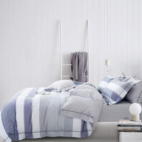 Edredón 3pc algodón lineas gris/azul king