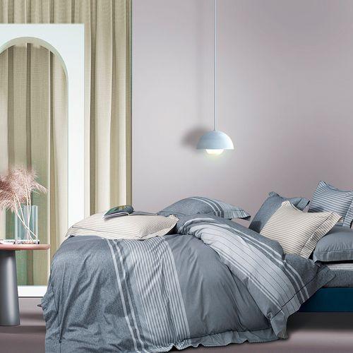 Duvet 3pc algodón lineas gris queen