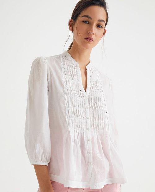 Blusa con detalle de pliegues delanteros blanco