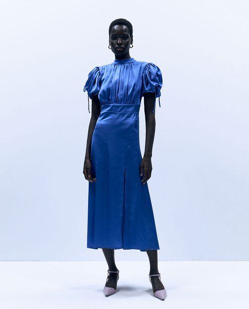 Vestido frunce manga azul