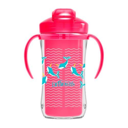 9onz. vasos entrenamiento insulado pajilla con aladeras rosado