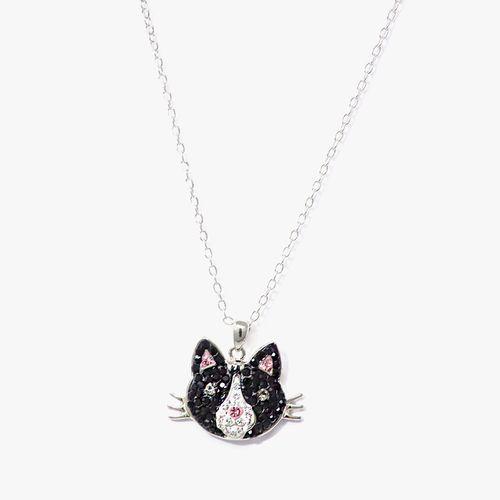 Cadena con dije de gato negro multi plata