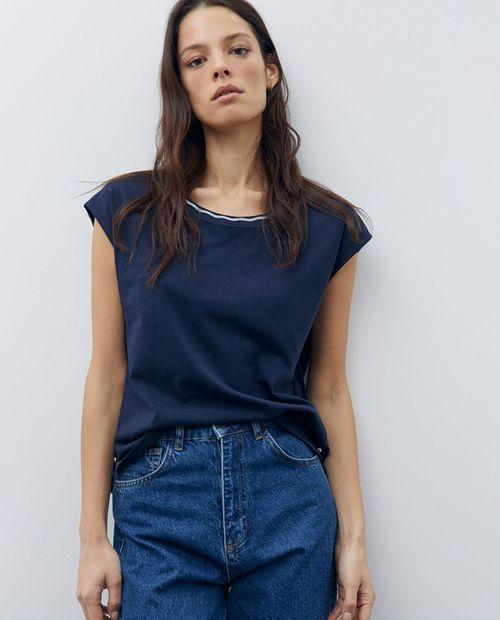 Camiseta lurex cuello navy