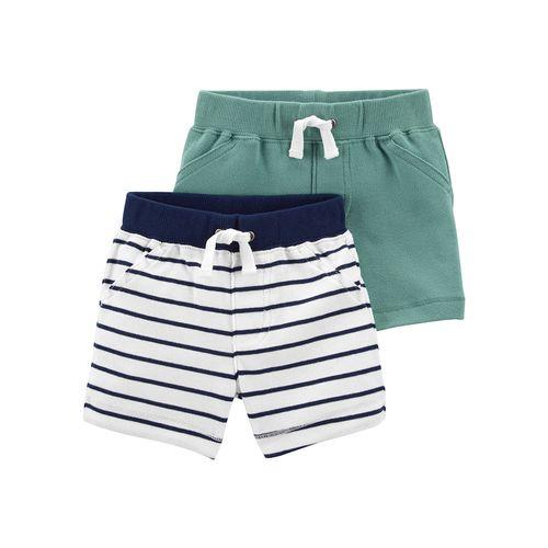 2 pack short niño blanco rayas azules y verde