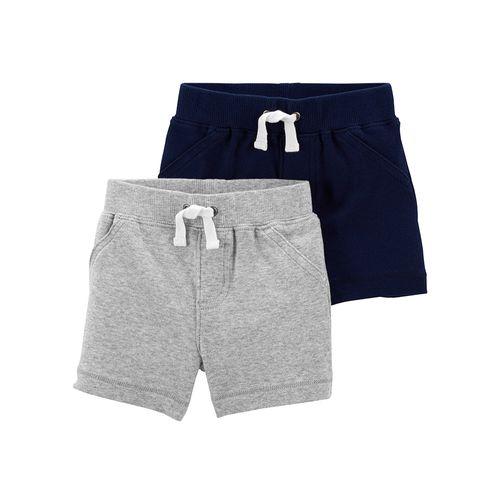 2 pack short niño gris y azul