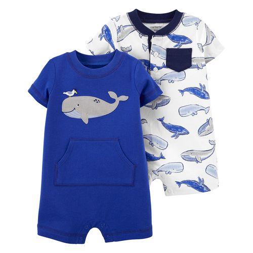 2 pack romper para niño estampado ballena
