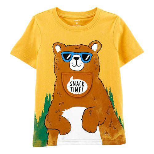 Camisa amarilla estampado oso para niño