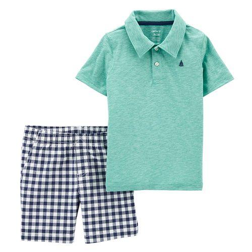 Conjunto 2 piezas camisa polo celeste y short cuadriculado para niño