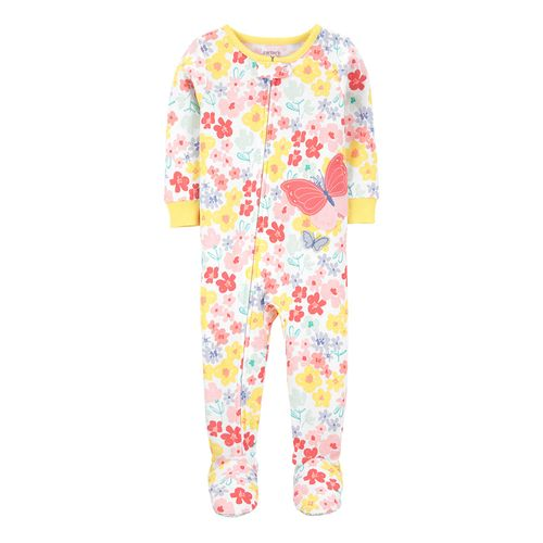 Pijama de piecitos floral y estampado mariposa para niña
