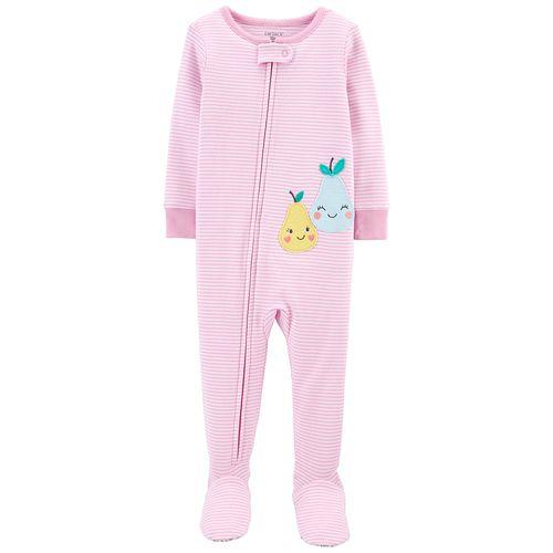 Pijama de piecitos rosa a rayas estampado de peras