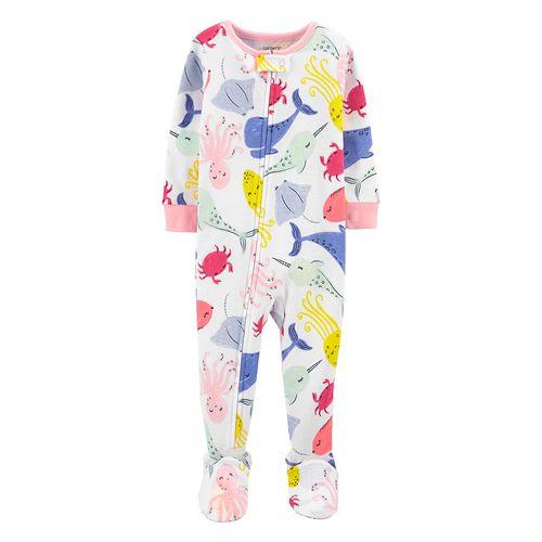Pijama de piecitos estampado animales del mar para niña