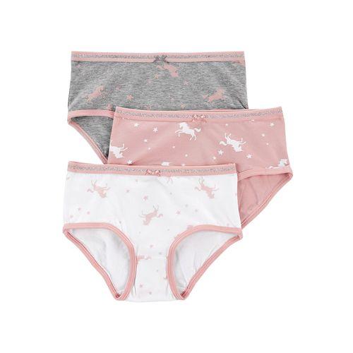 3 pack bloomer para niña rosa blanco y gris