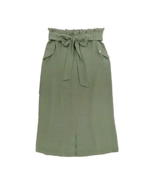 Falda c/amarre y botones solida verde