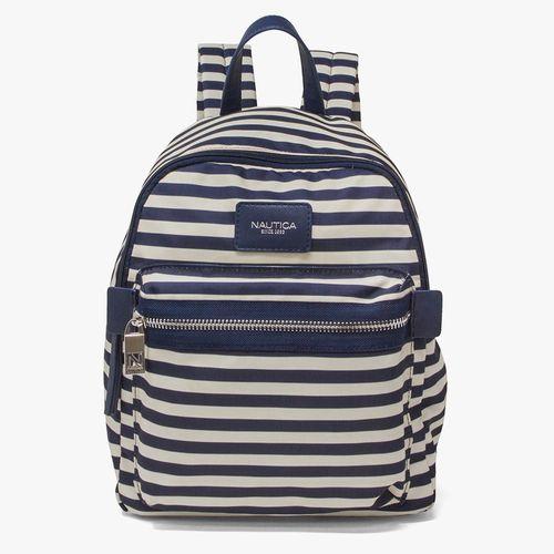 Cartera backpack nautica color hueso con rallas para dama