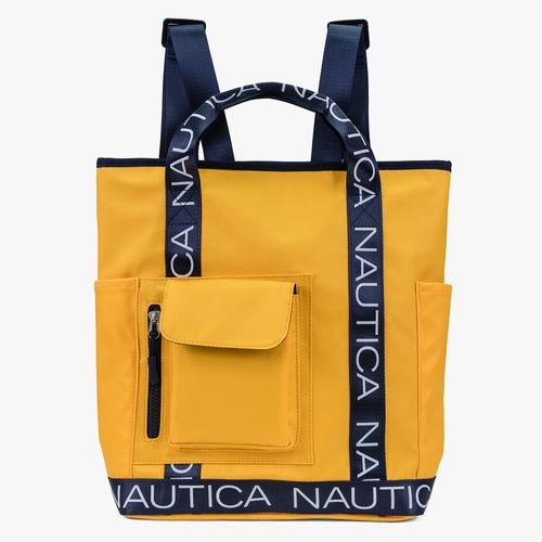 Cartera backpack nautica color amarillo para dama