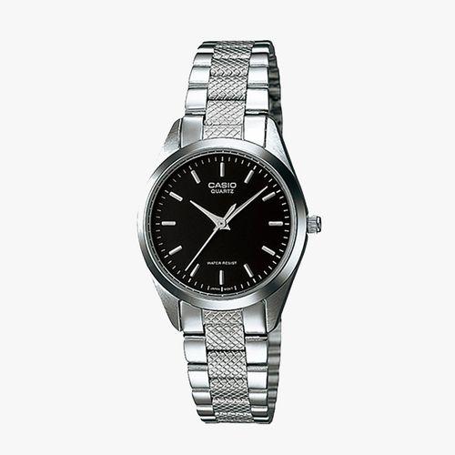 Reloj análogo metálico plateado dama