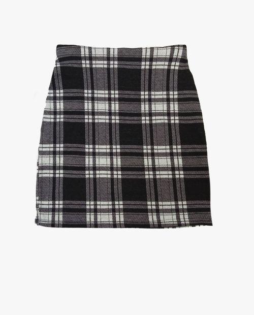 Falda black cuadricula mini