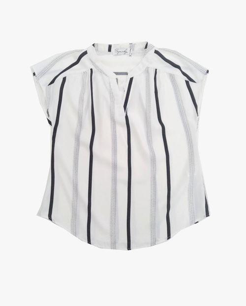 Blusa  manga corta blanco rayas /zigzag negro
