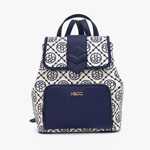 Cartera backpack h&co color azul para dama