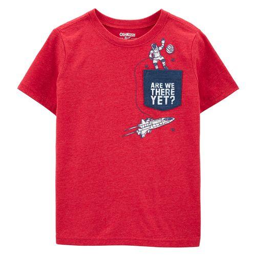 Camisa manga corta roja con estampado de nave espacial de niño