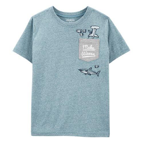 Camisa manga corta con estampado de tiburón de niño