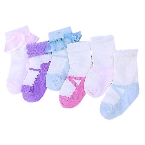 6 pack de calcetines estampado de zapatitos para niñas 0-9m