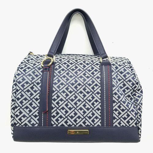 Cartera satchel tommy hilfiger color navy/blanco para dama