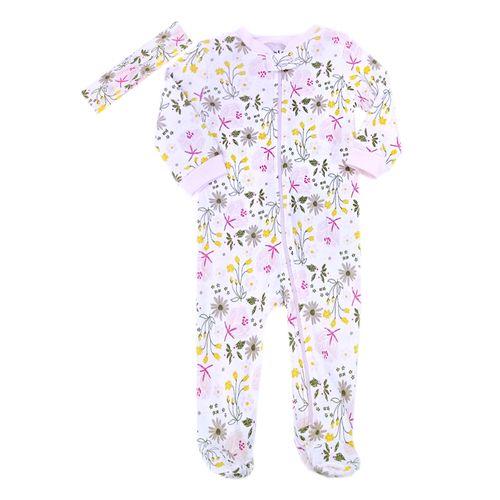 Pijama con piecitos y bincha estampado de flores para niña