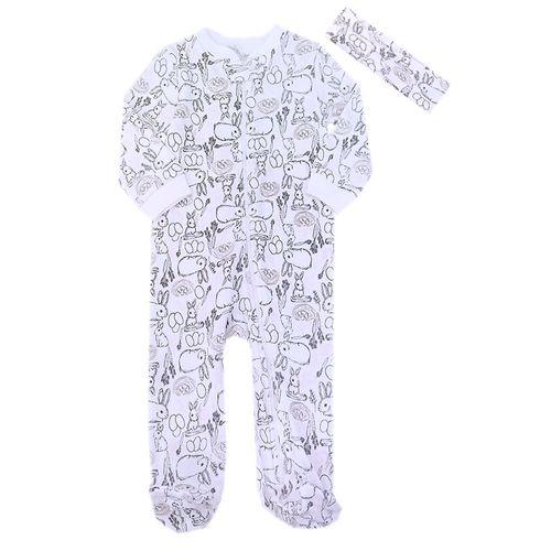 Pijama con piecitos y bincha estampado de conejo para niña