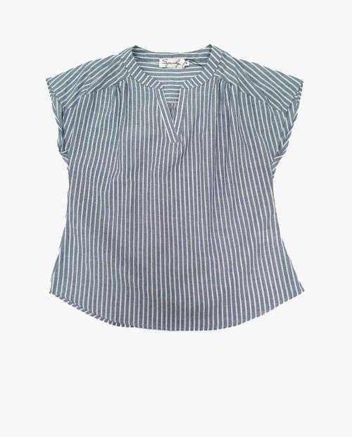 Blusa  manga corta navy rayado blanco