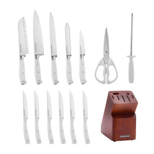 Set 14pcs cuchillos acero inox en bloque de madera café