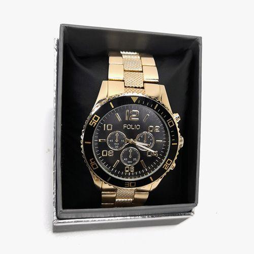 Reloj análogo metálico dorado para dama