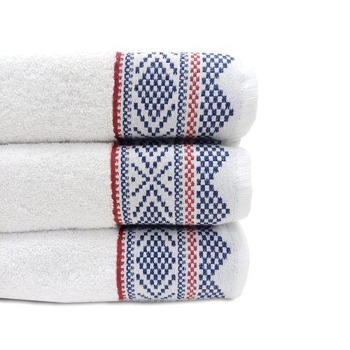 """Toalla  de baño borde jacquard blanco 27x54"""""""