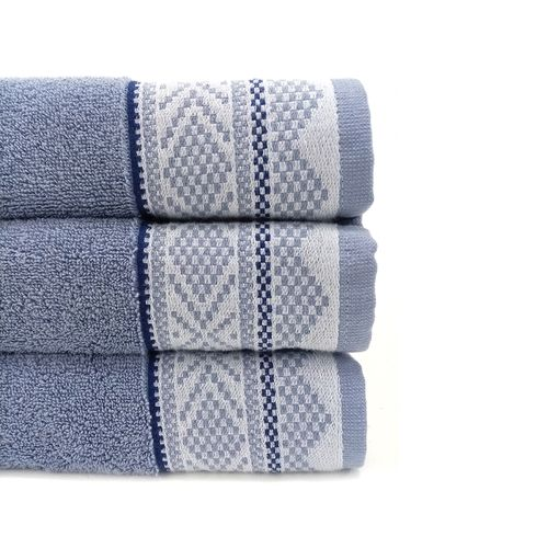 """Toalla  de baño borde jacquard azul 27x54"""""""